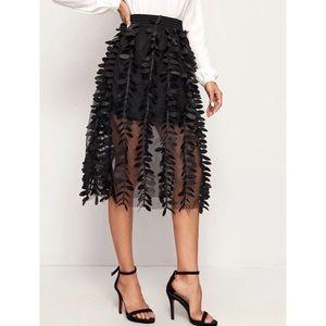 NWT Shein Appliqués Mesh Overlay Skirt Black